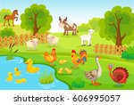 farm background with animals.