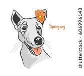 a dog with an orange flower on... | Shutterstock .eps vector #606996143
