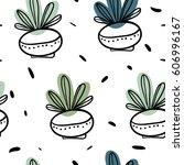 hand drawn seamless pattern... | Shutterstock .eps vector #606996167