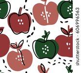 hand drawn apple seamless... | Shutterstock .eps vector #606996563
