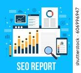 data analysis for seo audit and ... | Shutterstock .eps vector #606996947