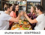 friends toasting with white... | Shutterstock . vector #606998663
