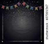 chalkboard background with... | Shutterstock .eps vector #607001567