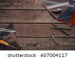 leather craft or leather... | Shutterstock . vector #607004117