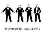 set different poses business... | Shutterstock .eps vector #607014443
