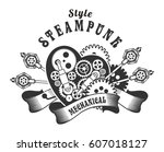 mechanical heart in the style... | Shutterstock . vector #607018127
