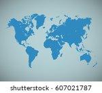 blue world map vector. worldmap ... | Shutterstock .eps vector #607021787