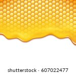 honeycomb and sweet honey drips | Shutterstock .eps vector #607022477