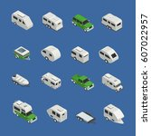 recreational vehicles isometric ... | Shutterstock .eps vector #607022957