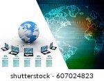 3d rendering computer network | Shutterstock . vector #607024823