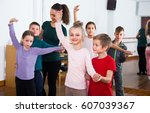 group of positive student... | Shutterstock . vector #607039367