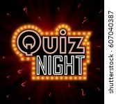quiz night announcement poster... | Shutterstock .eps vector #607040387