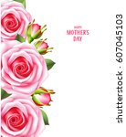 mother's day card with pink... | Shutterstock .eps vector #607045103