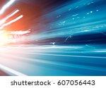 abstract traffic lights in... | Shutterstock . vector #607056443