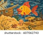 children's illustration gouache ...   Shutterstock . vector #607062743