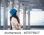 woman hugging herself and... | Shutterstock . vector #607075817