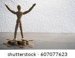 rich wooden mannequin  puppet | Shutterstock . vector #607077623