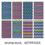 set of eight hand drawn... | Shutterstock .eps vector #607091033