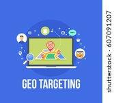 geo targeting  local map flat... | Shutterstock .eps vector #607091207