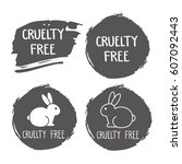 cruelty free icon. no animals... | Shutterstock .eps vector #607092443