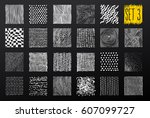 hand drawn textures and brushes.... | Shutterstock .eps vector #607099727