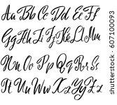 hand drawn font. modern brush...   Shutterstock .eps vector #607100093