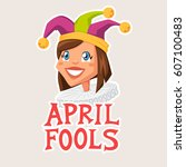 april fools day illustration... | Shutterstock .eps vector #607100483