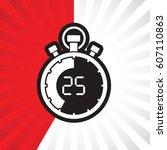 stopwatch twenty five minute | Shutterstock .eps vector #607110863