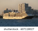 the cruise ship is leaving fort ... | Shutterstock . vector #607118027