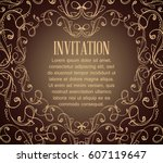 vintage background with brown... | Shutterstock .eps vector #607119647