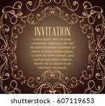 vintage background with brown... | Shutterstock .eps vector #607119653