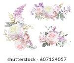 floral illustration   pink... | Shutterstock . vector #607124057