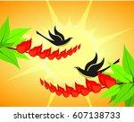 erythrina variegata flowers and ... | Shutterstock .eps vector #607138733