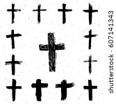 Grunge Hand Drawn Cross Symbol...