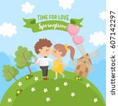 greeting card design with... | Shutterstock .eps vector #607142297