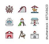 amusement park icon set.... | Shutterstock .eps vector #607143623