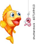 scared worm with hungry fish | Shutterstock .eps vector #607149413