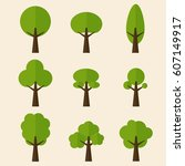 flat trees collection  | Shutterstock .eps vector #607149917