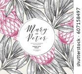 protea flower wedding... | Shutterstock .eps vector #607158497