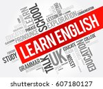 learn english word cloud... | Shutterstock .eps vector #607180127