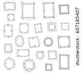 doodle frames | Shutterstock .eps vector #607185407