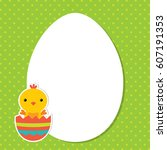 easter vector card with a baby... | Shutterstock .eps vector #607191353