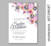 elegant yellow rose wedding... | Shutterstock .eps vector #607198187
