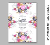 elegant yellow rose wedding... | Shutterstock .eps vector #607198313