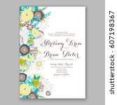 elegant yellow rose wedding... | Shutterstock .eps vector #607198367
