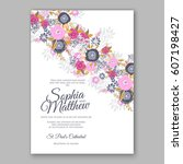 elegant yellow rose wedding... | Shutterstock .eps vector #607198427
