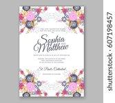elegant yellow rose wedding... | Shutterstock .eps vector #607198457