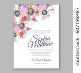 elegant yellow rose wedding... | Shutterstock .eps vector #607198487