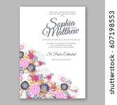 elegant yellow rose wedding... | Shutterstock .eps vector #607198553