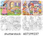 snow white and the seven dwarfs.... | Shutterstock . vector #607199237